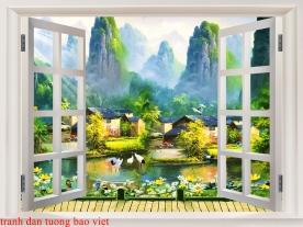 Tranh dán tường cửa sổ 3d me042
