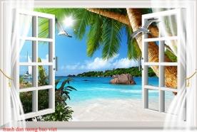 Tranh dán tường cửa sổ 3d s246