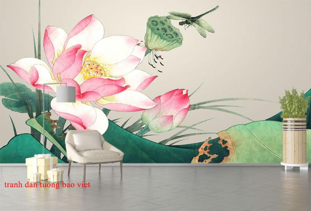 Tranh dán tường hoa sen h259