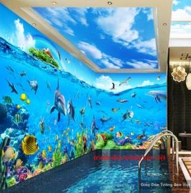 Tranh dán tường 3D phong cảnh biển S100