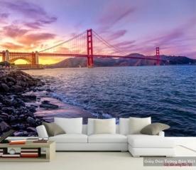 Tranh dán tường cảnh biển hình cây cầu v104