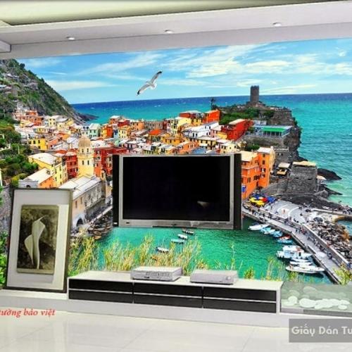 Tranh dán tường phong cảnh biển 3d s181