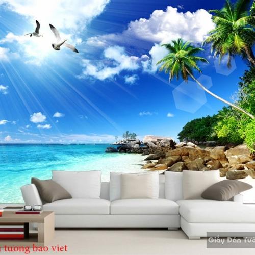 Tranh dán tường phong cảnh biển 3d s203