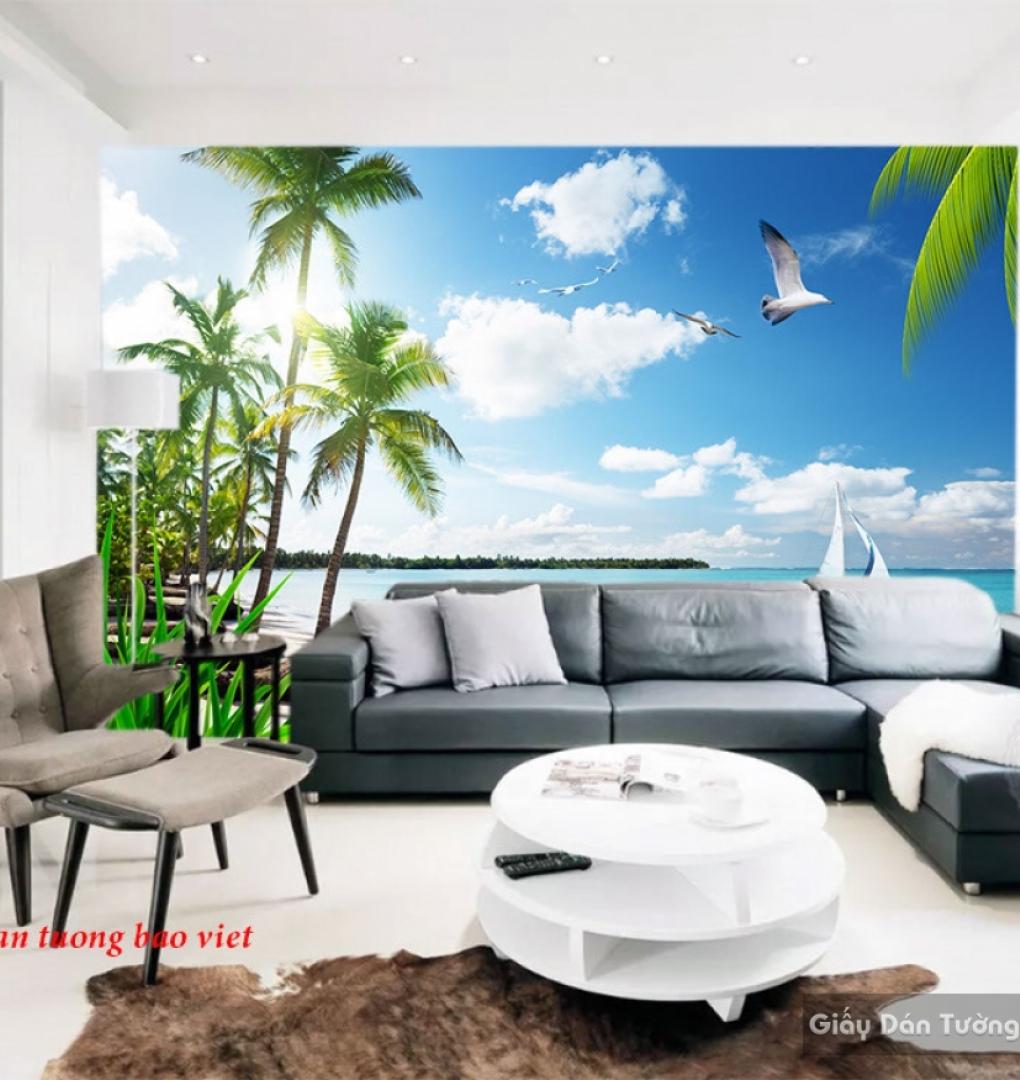 Tranh dán tường phong cảnh biển 3d s204