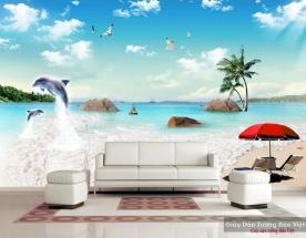 Tranh dán tường phong cảnh biển 3d v174