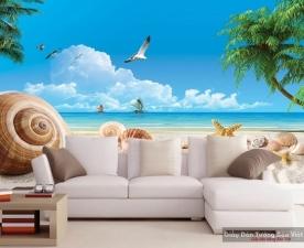 Tranh dán tường phong cảnh biển màu xanh v176