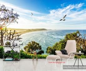 Tranh dán tường phong cảnh biển s172