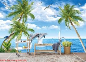 Tranh dán tường phong cảnh biển 3d s232
