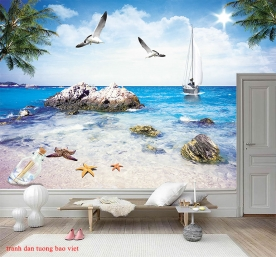 Tranh dán tường phong cảnh biển s241