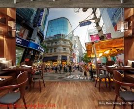 Tranh dán tường cảnh đường phố Hàn quốc Fm359
