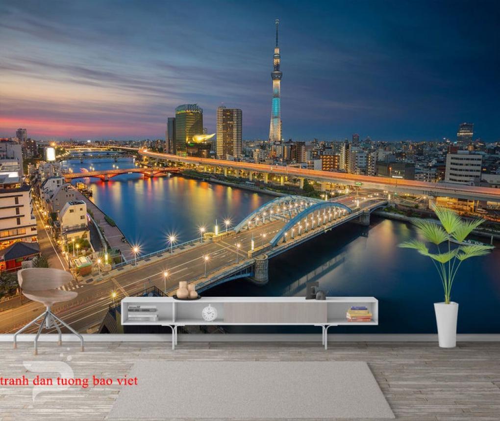 Tranh dán tường phong cảnh thành phố me019