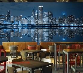 Tranh dán tường thành phố đêm Chicago me028