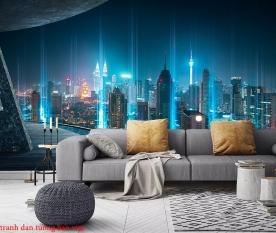 Tranh dán tường thành phố đêm fm414