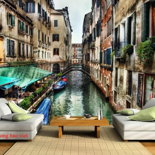 Tranh dán tường thành phố Venice me035