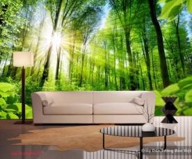 Tranh dán tường phong cảnh thiên nhiên màu xanh v086