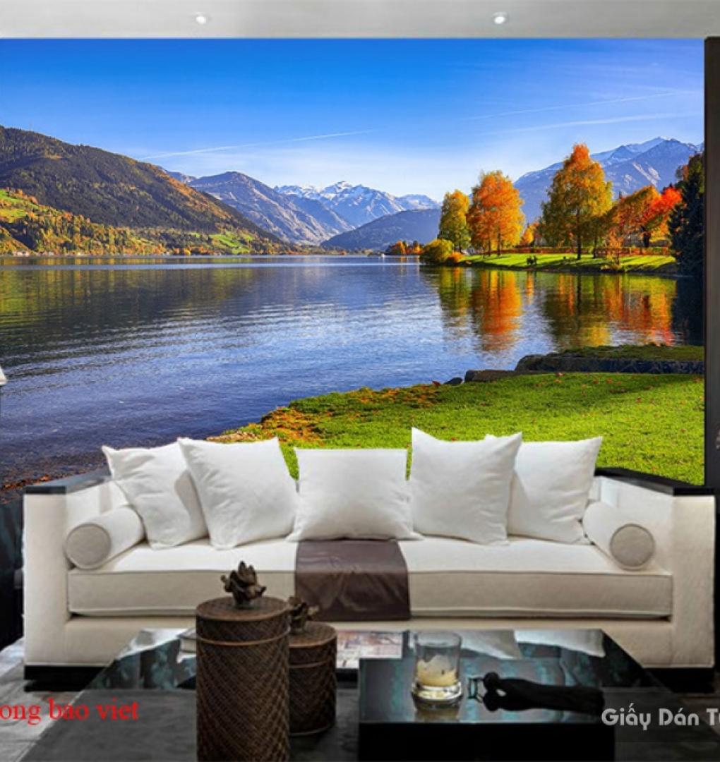 Tranh dán tường phong cảnh sông núi m080