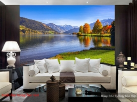 Wall paintings of mountain river landscape m080