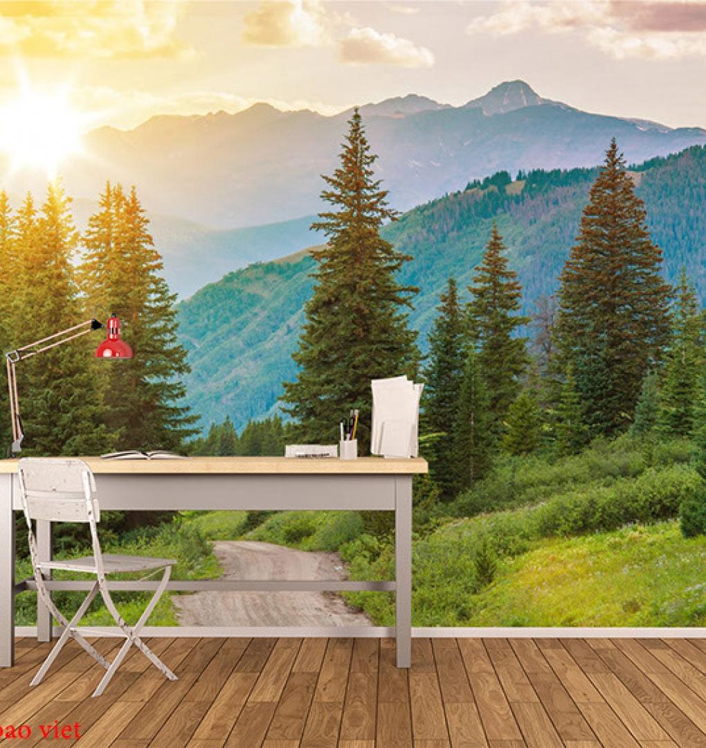 Tranh dán tường phong cảnh núi me011