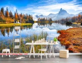 Tranh dán tường phong cảnh sông núi m088