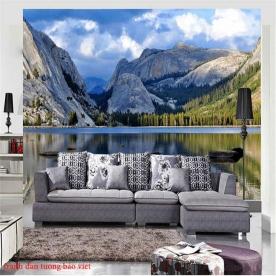 Tranh dán tường phong cảnh sông núi me016