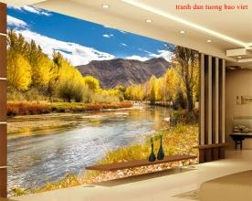 Tranh dán tường phong cảnh sông núi me033