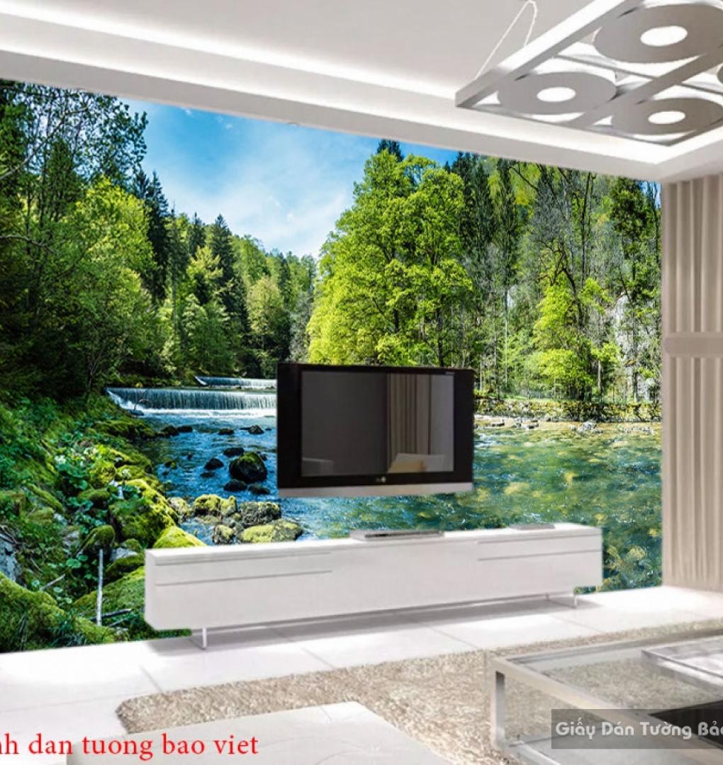 Tranh dán tường 3d phong cảnh thác nước W169