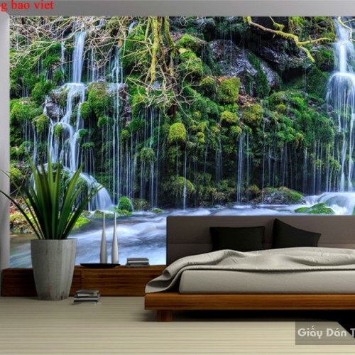 Tranh dán tường thác nước 3d w179