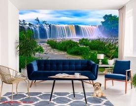 Wall paintings of waterfall w181