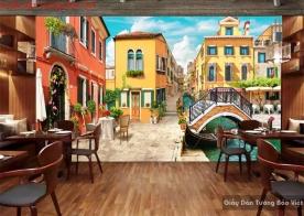 Tranh dán tường 3d cho quán cafe Fm367