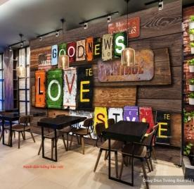 Tranh dán tường 3d cho quán cafe phong cách vintage d189