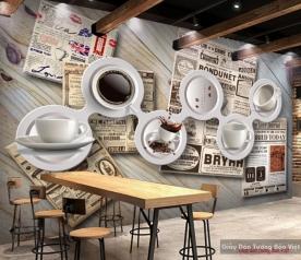 Tranh dán tường 3d cho quán cafe v091