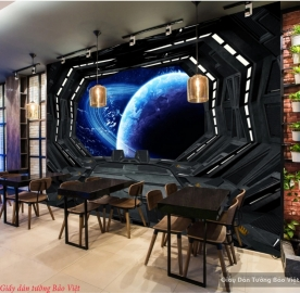 Tranh dán tường 3d galaxy cho quán cafe v027