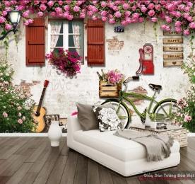 Tranh dán tường 3d trang trí quán cafe v048