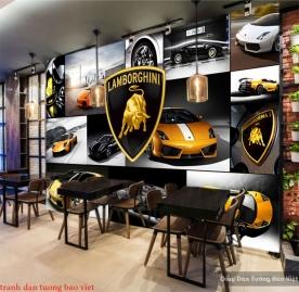 Tranh dán tường cho quán cafe Fm363