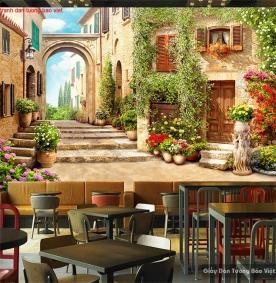 Tranh dán tường cho quán cafe Fm376