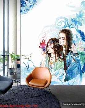 Tranh dán tường cho quán cafe Fm377