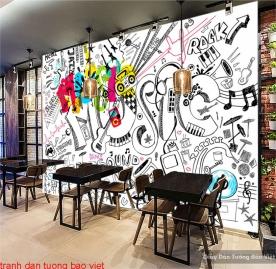 Tranh dán tường cho quán cafe fm381