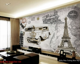 Tranh dán tường cho quán cafe fm398