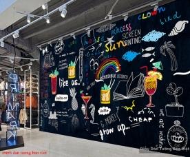 Tranh dán tường cho quán trà sữa fm394