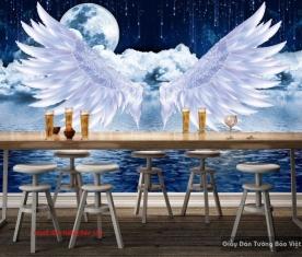 Tranh dán tường đôi cánh thiên thần cho quán cafe D159