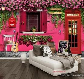 Tranh dán tường màu hồng cho quán cafe trà sữa v222