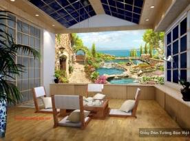 Tranh dán tường phong cảnh cho quán cafe fi085
