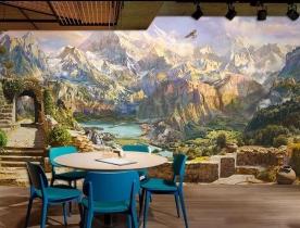 Tranh dán tường cho quán cafe fm426