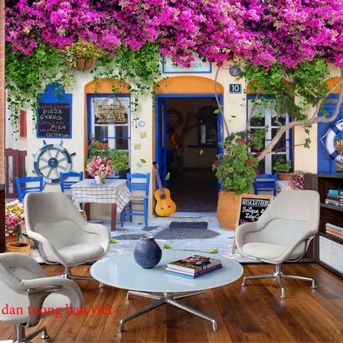 Tranh dán tường 3d cho quán cafe fm428