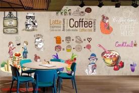 Tranh dán tường cho quán cafe fm435
