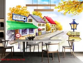 Tranh dán tường cho quán cafe fm441