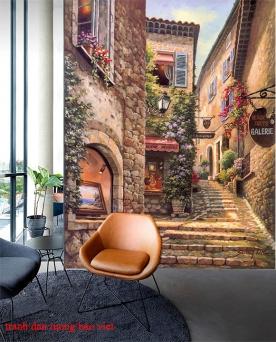 Tranh dán tường cho quán cafe fm444