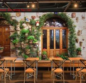 Tranh dán tường cho quán cafe fm448