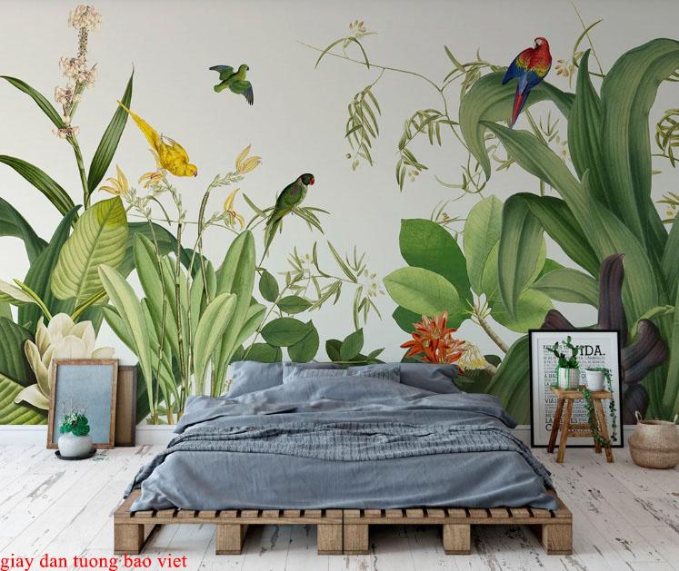 Giấy dán tường lá cây nhiệt đới