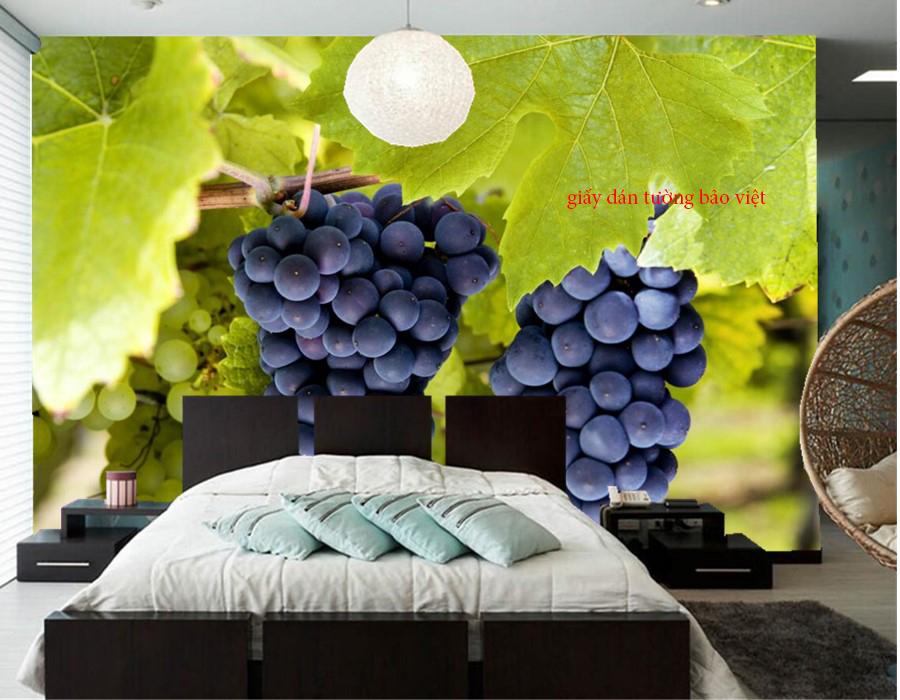 Giấy dán tường phòng ngủ 3d đẹp tại tphcm với hình trái cây